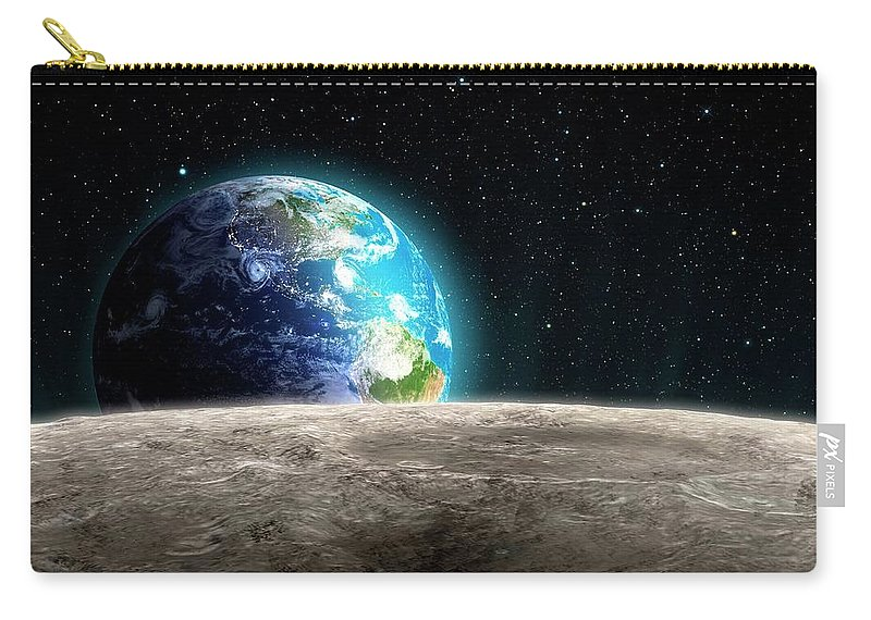 Shadow Carry-all Pouch featuring the digital art Earthrise From The Moon, Artwork by Andrzej Wojcicki