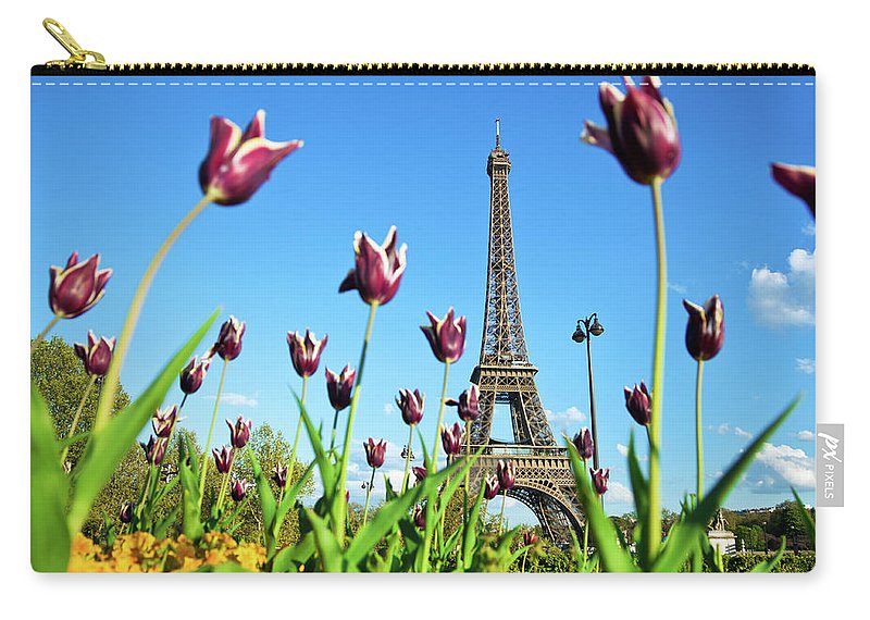 Scenics Carry-all Pouch featuring the photograph Eiffel Tower In Paris, France by Nikada