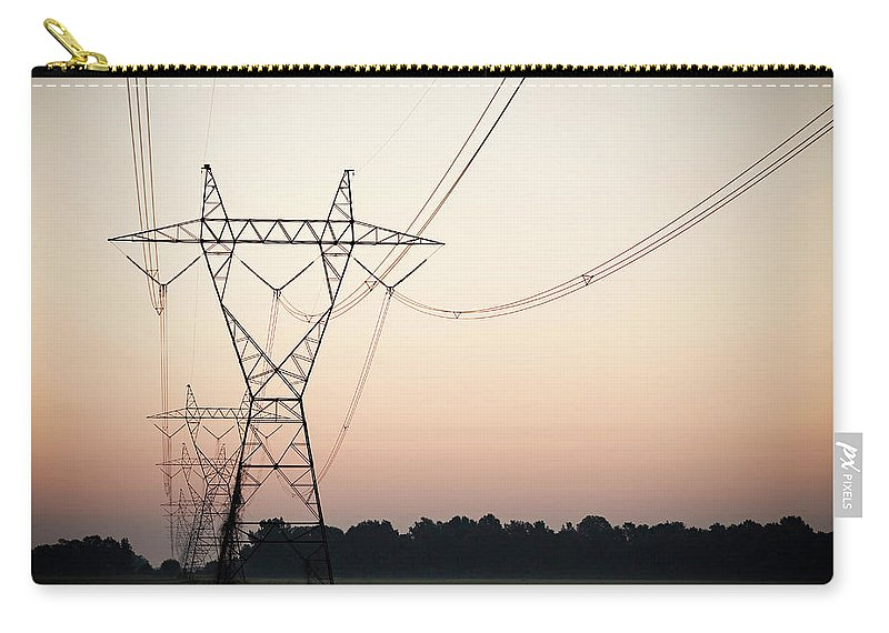 Tranquility Carry-all Pouch featuring the photograph Electrical Power Lines Against The by Wesley Hitt