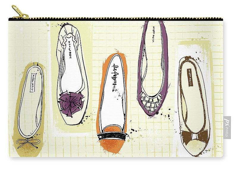 Purple Carry-all Pouch featuring the digital art Feminine Shoes by Eastnine Inc.