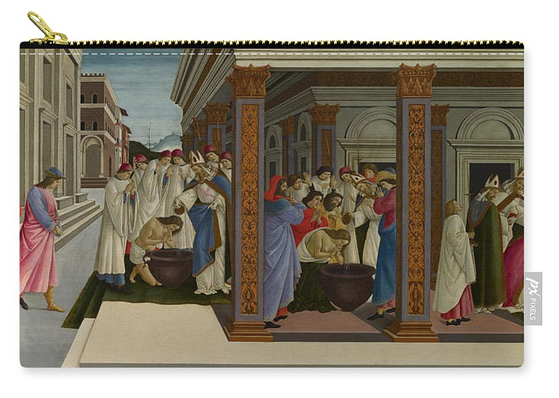 Sandro Botticelli Carry-all Pouch featuring the painting Four Scenes From The Early Life Of Saint Zenobius by Sandro Botticelli
