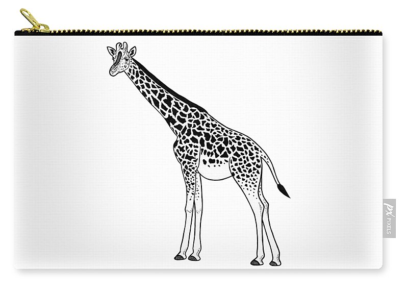 Giraffe Carry-all Pouch featuring the drawing Giraffe - Ink Illustration by Loren Dowding