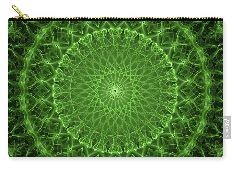 Mandala Carry-all Pouch featuring the digital art Glowing Green Mandala by Jaroslaw Blaminsky