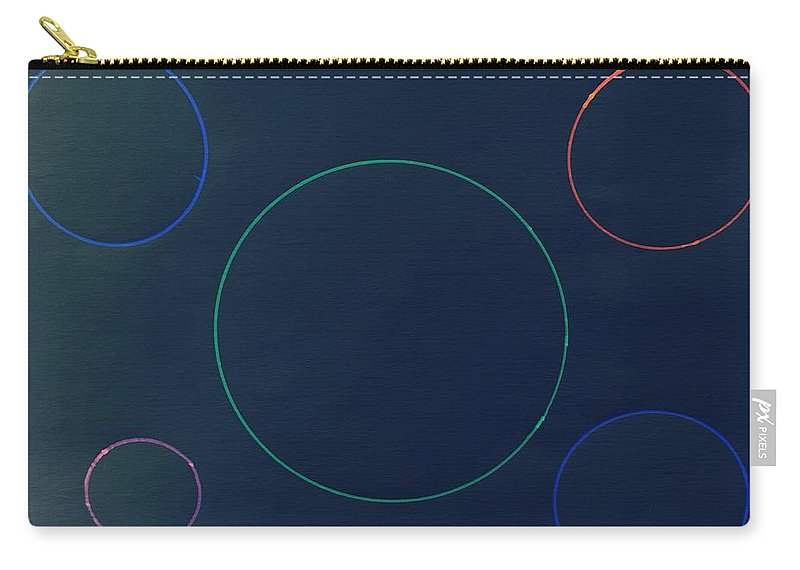 Drawing Carry-all Pouch featuring the drawing Green Circle In The Middle by Erma L George