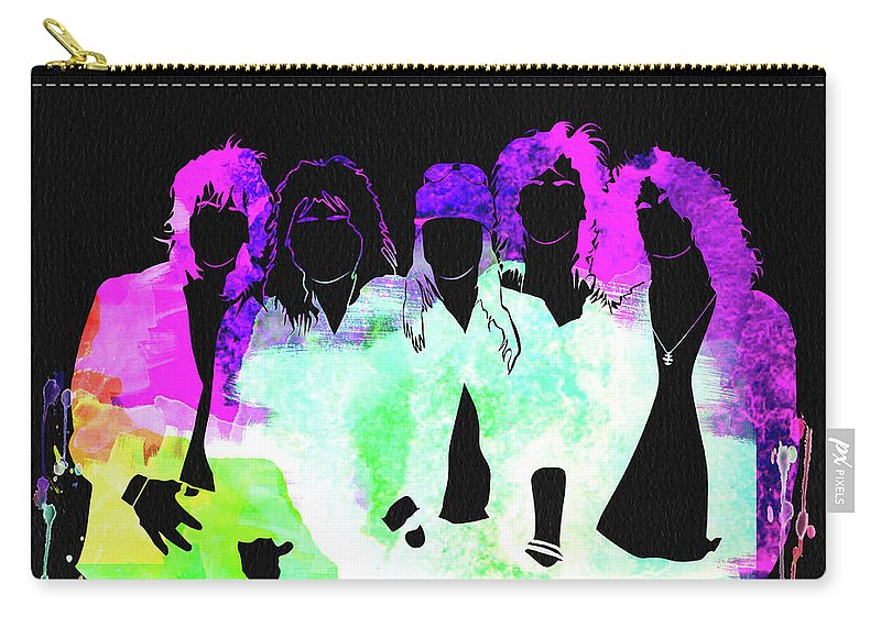 Guns N' Roses Carry-all Pouch featuring the mixed media Guns N' Roses Watercolor by Naxart Studio