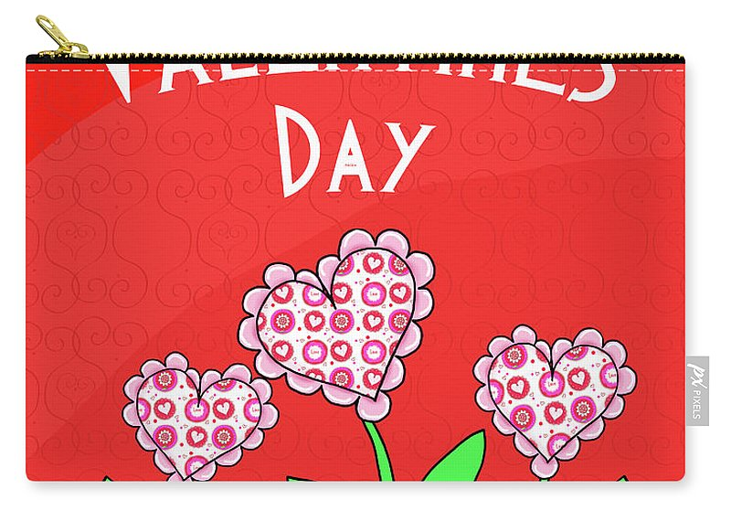 Happy Carry-all Pouch featuring the mixed media Happy Valentines Day Flowers by Andi Metz