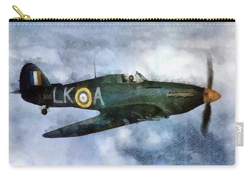 Spitfire Carry-all Pouch featuring the painting Hawker Hurricane, Wwii by John Springfield