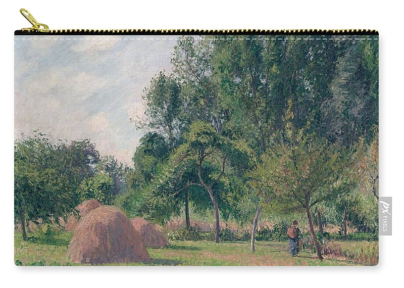 Camille Pissarro Carry-all Pouch featuring the painting Haystacks, Morning, Eragny, 1899 by Camille Pissarro