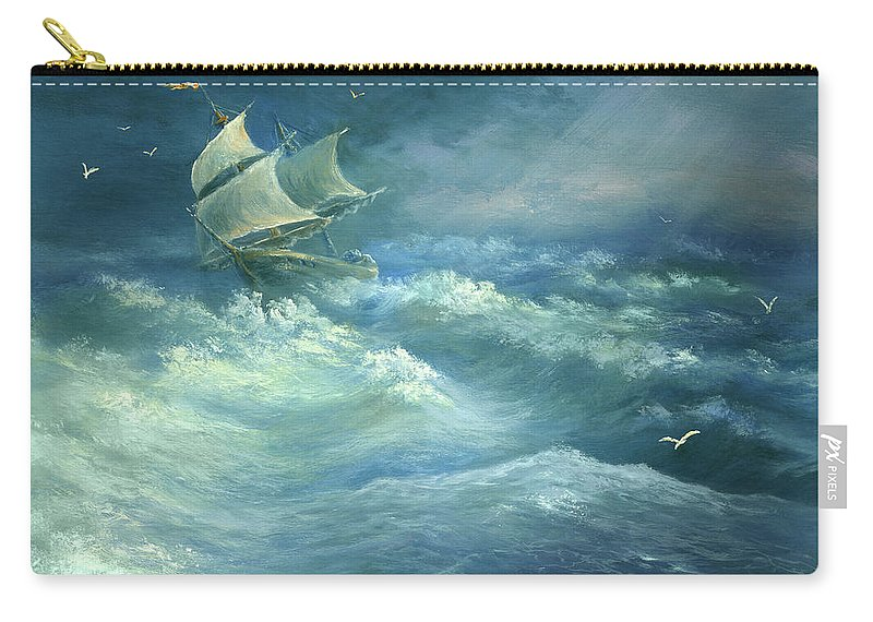 Curve Carry-all Pouch featuring the digital art Heavy Gale by Pobytov