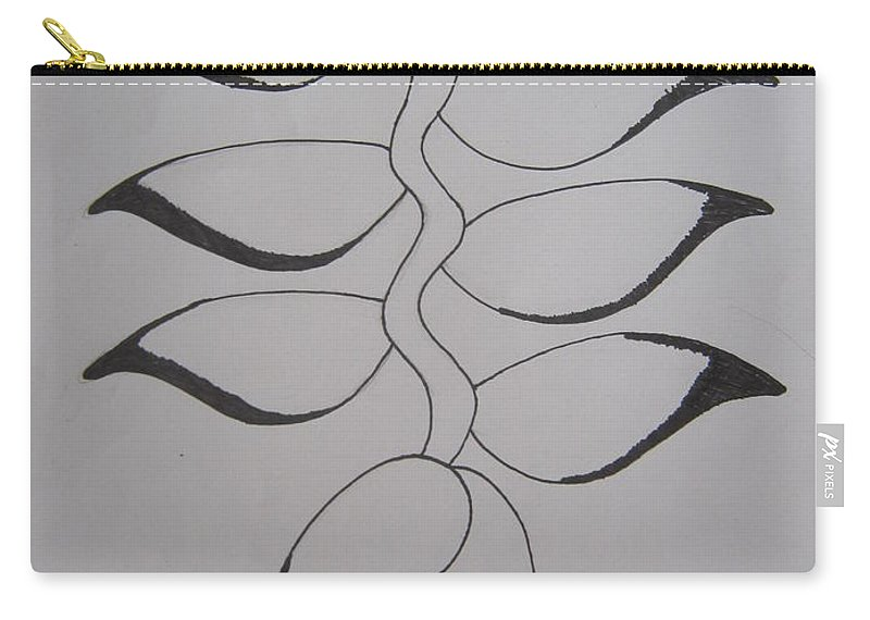 Heliconia Carry-all Pouch featuring the drawing Heliconia by Pucharaporn Songsri