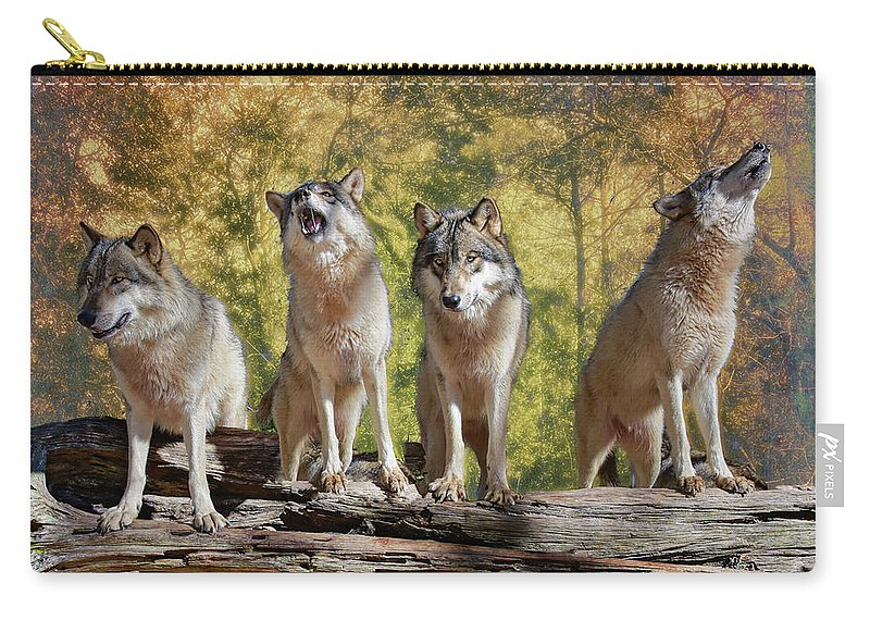 Wolf Carry-all Pouch featuring the photograph Howling Wolves by Jeannee Gannuch