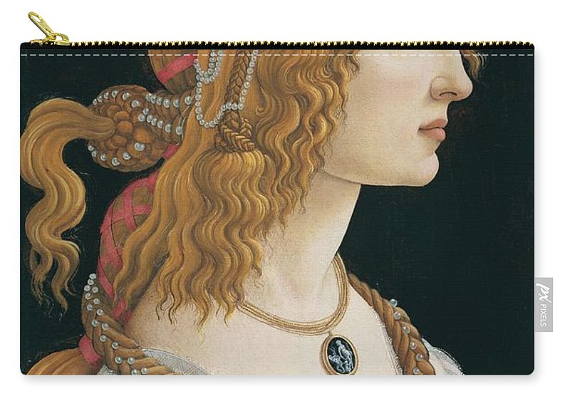 Sandro Botticelli Carry-all Pouch featuring the painting Portrait Of A Young Woman, Portrait Of Simonetta Vespucci As Nymph by Sandro Botticelli