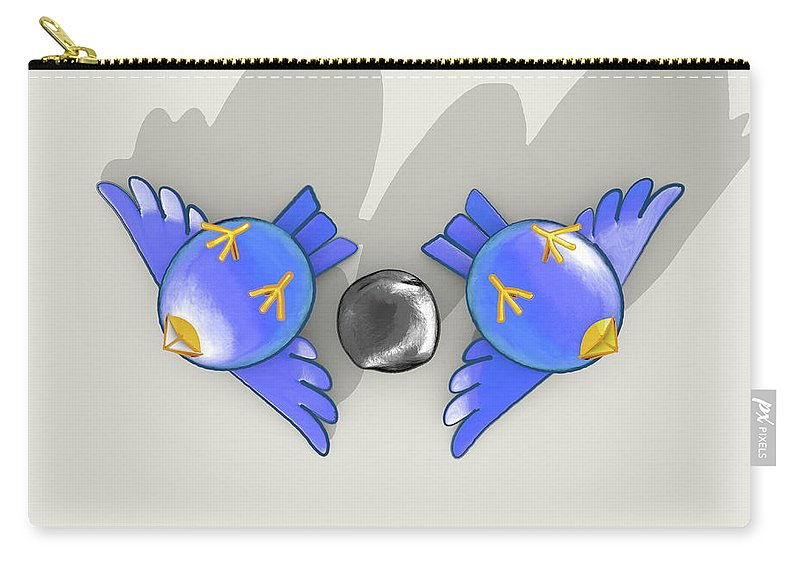 Kill Two Birds With One Stone Carry-all Pouch featuring the digital art Kill Two Bird With One Stone 1 by Allan Swart