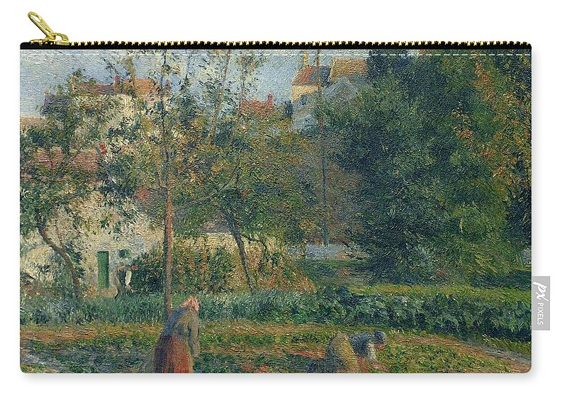 Camille Pissarro Carry-all Pouch featuring the painting Kitchen Garden At The Hermitage, Pontoise, 1879 by Camille Pissarro