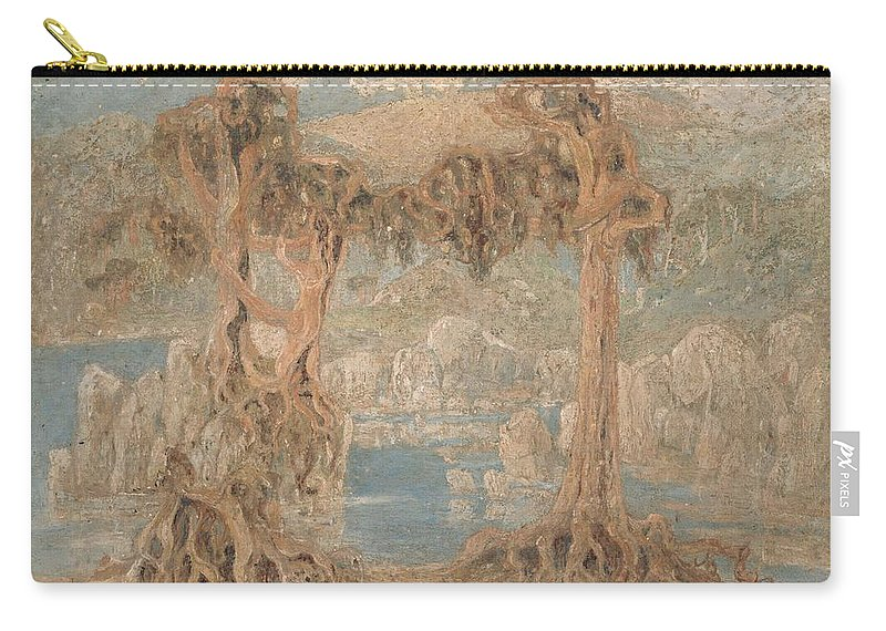 Lars Hertervig Carry-all Pouch featuring the painting Landscape by Lars Hertervig
