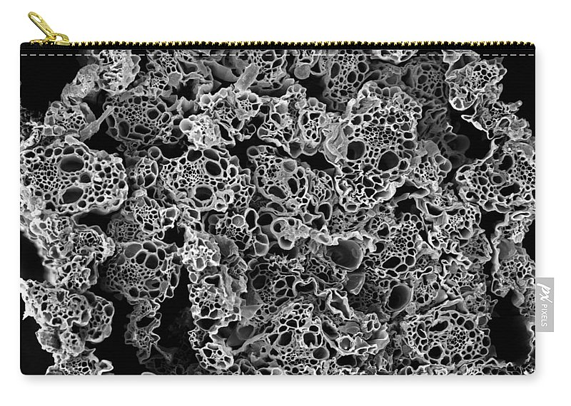 Microscope Carry-all Pouch featuring the photograph Lemongrass Cross Section, Sem by Sheri Neva