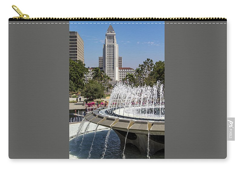 Arthur J. Will Carry-all Pouch featuring the photograph Los Angeles City Hall And Arthur J. Will Memorial Fountain by Roslyn Wilkins