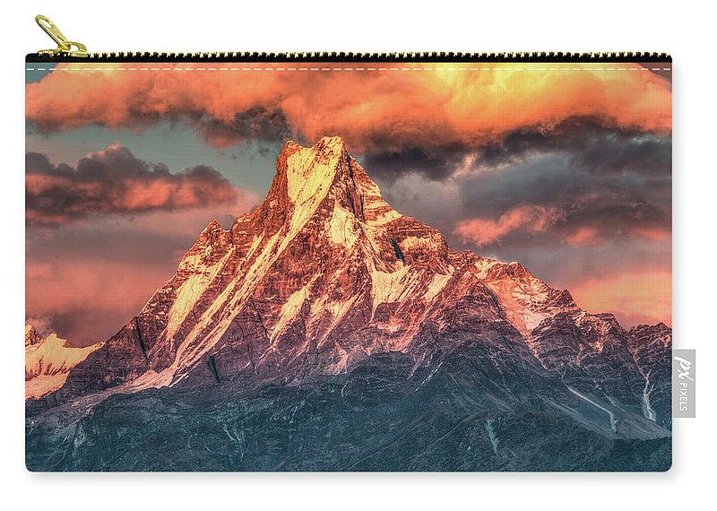 Tranquility Carry-all Pouch featuring the photograph Machapuchare Mountain, Fish Tail In by Emad Aljumah