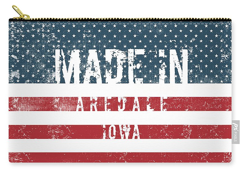 Aredale Carry-all Pouch featuring the digital art Made In Aredale, Iowa by Tinto Designs