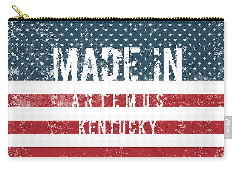 Artemus Carry-all Pouch featuring the digital art Made In Artemus, Kentucky by Tinto Designs