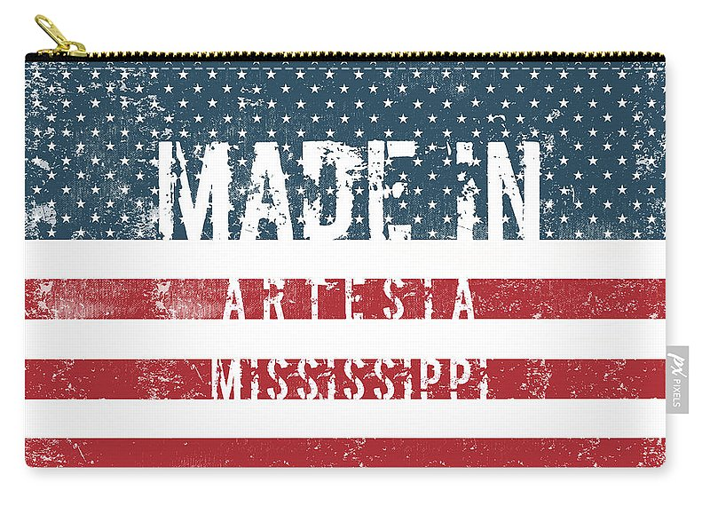 Artesia Carry-all Pouch featuring the digital art Made In Artesia, Mississippi by Tinto Designs