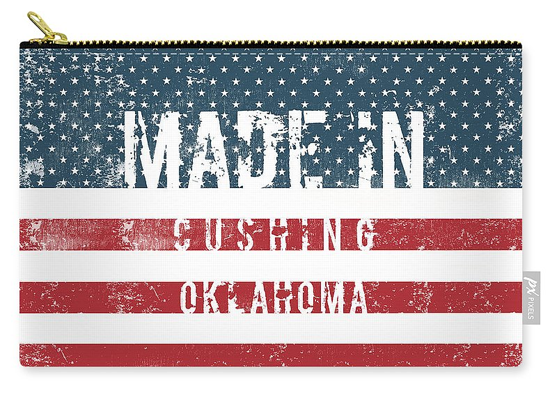 Cushing Carry-all Pouch featuring the digital art Made In Cushing, Oklahoma by Tinto Designs