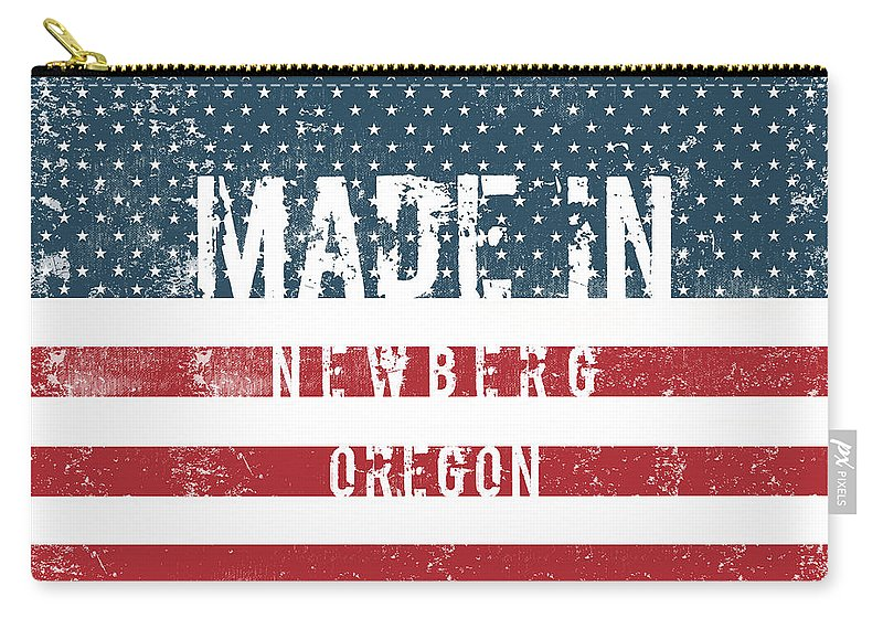 Newberg Carry-all Pouch featuring the digital art Made In Newberg, Oregon by Tinto Designs