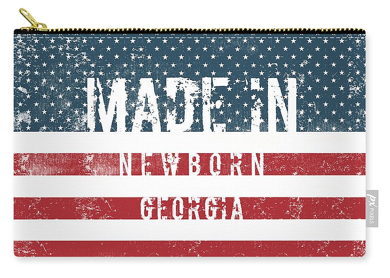Newborn Carry-all Pouch featuring the digital art Made In Newborn, Georgia by Tinto Designs