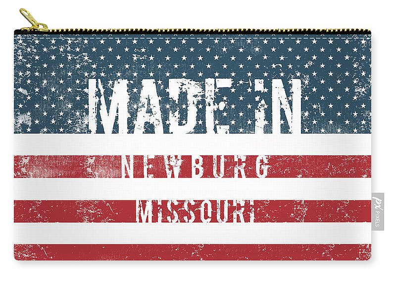 Newburg Carry-all Pouch featuring the digital art Made In Newburg, Missouri by Tinto Designs