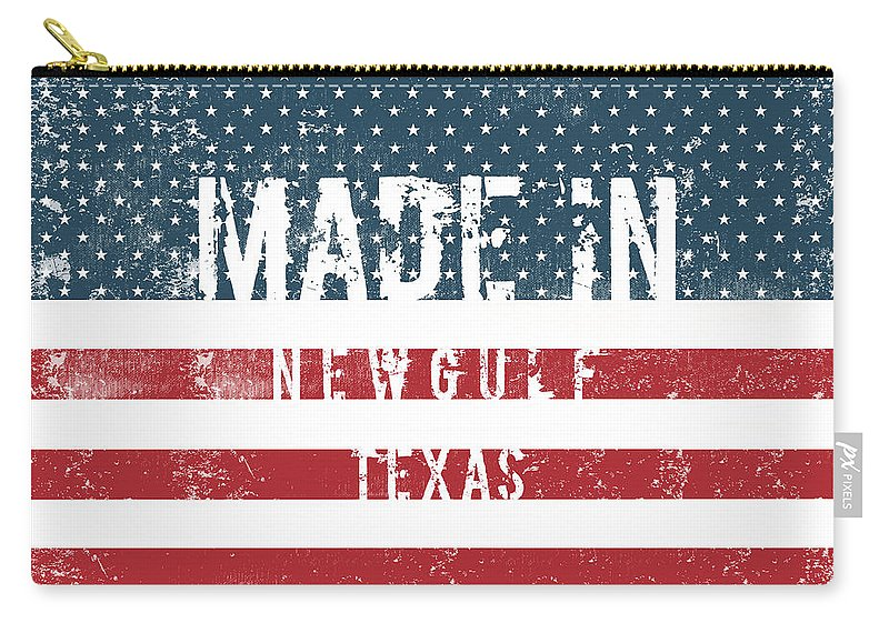 Newgulf Carry-all Pouch featuring the digital art Made In Newgulf, Texas by Tinto Designs
