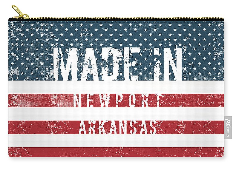 Newport Carry-all Pouch featuring the digital art Made In Newport, Arkansas by Tinto Designs