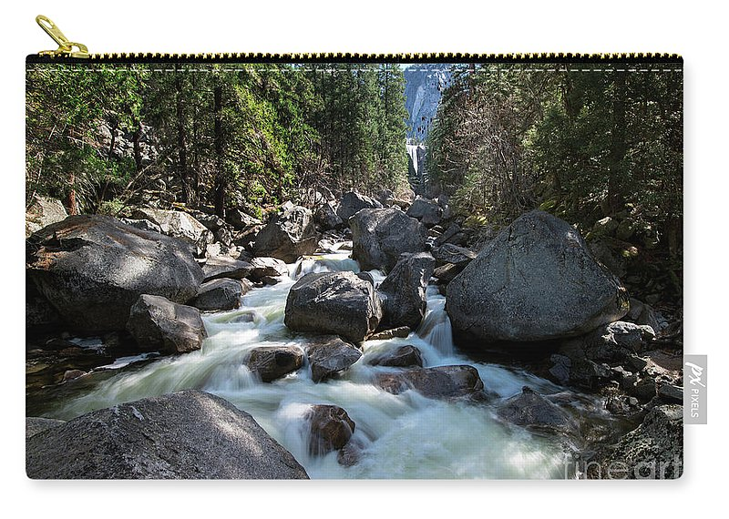 Merced River And Vernal Fall Carry-all Pouch featuring the photograph Merced River And Vernal Fall, Yosemite National Park by Yefim Bam