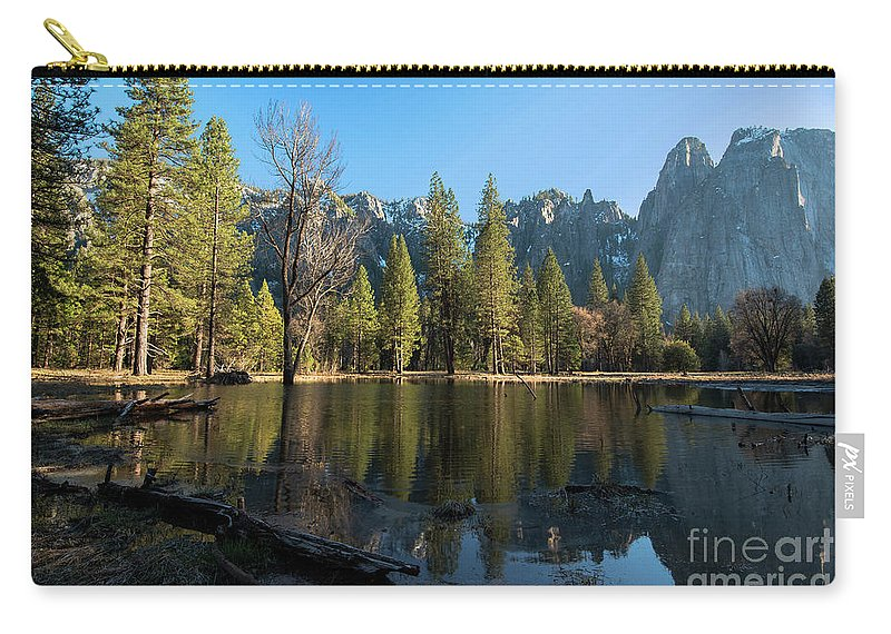 Merced River Reflection Carry-all Pouch featuring the photograph Merced River Reflection, Yosemite National Park by Yefim Bam