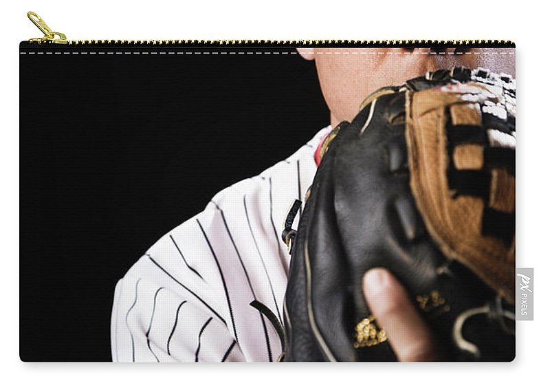 Baseball Cap Carry-all Pouch featuring the photograph Mixed Race Baseball Player Pitching by Hill Street Studios