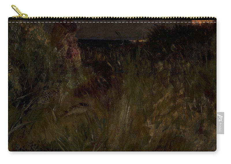 Eilif Peterssen Carry-all Pouch featuring the painting Moonrise Over The Dunes by Eilif Peterssen