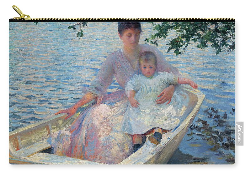 America Carry-all Pouch featuring the painting Mother And Child In A Boat by Edmund Charles Tarbell