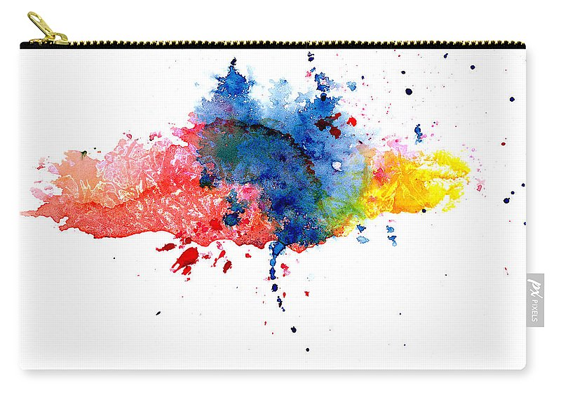 Watercolor Painting Carry-all Pouch featuring the photograph Multicolored Splashes by Alenchi