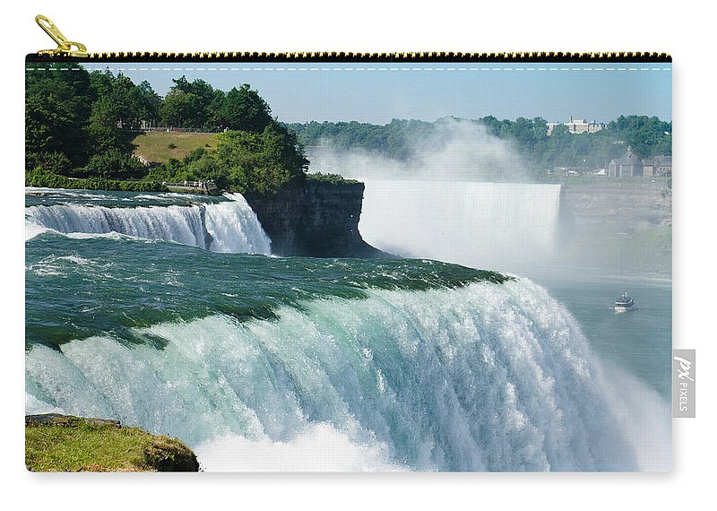 Scenics Carry-all Pouch featuring the photograph Niagara Falls From The Usa Side by Franckreporter