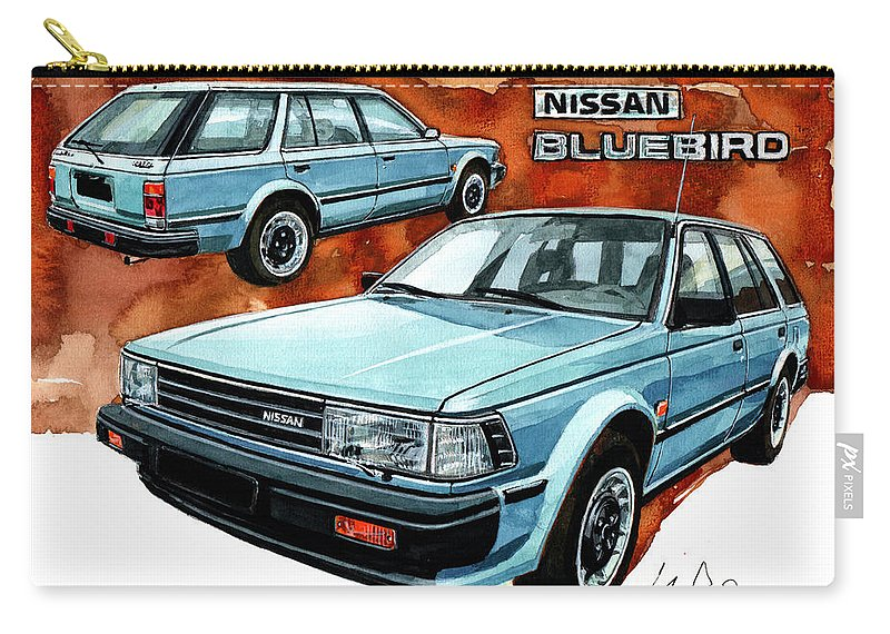 Nissan Carry-all Pouch featuring the painting Nissan Bluebird Sw by Yoshiharu Miyakawa