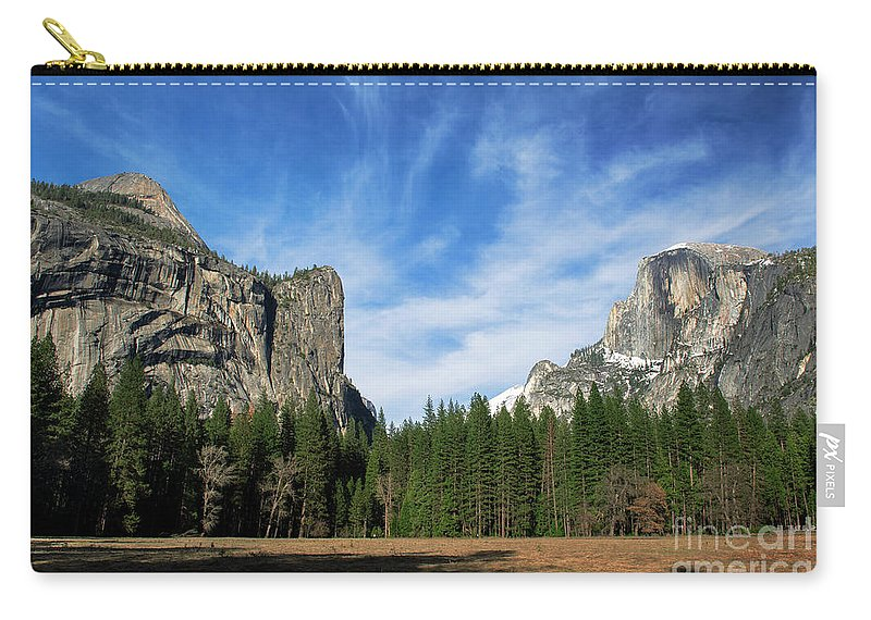 North Dome And Half Dome Carry-all Pouch featuring the photograph North Dome And Half Dome, Yosemite National Park by Yefim Bam