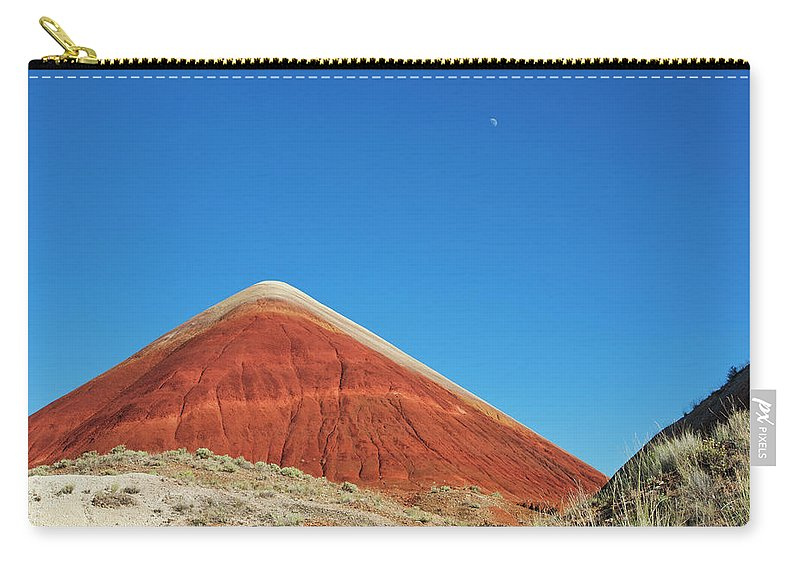 Scenics Carry-all Pouch featuring the photograph Painted Hills Desert With Quarter Moon by Sasha Weleber