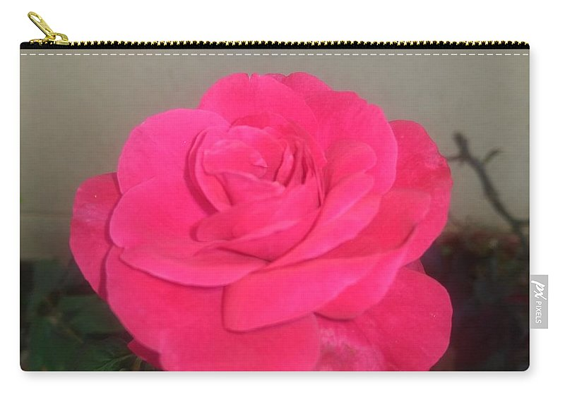 Carry-all Pouch featuring the photograph Pink Rose by Nimu Bajaj and Seema Devjani