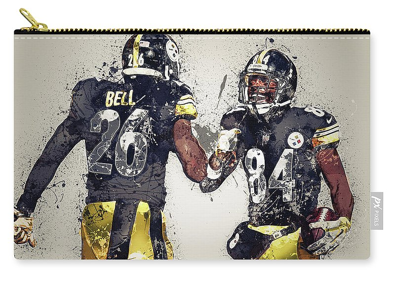 Pittsburgh Steelers Carry-all Pouch featuring the digital art Pittsburgh Steelers.le'veon Bell And Antonio Brown by Nadezhda Zhuravleva