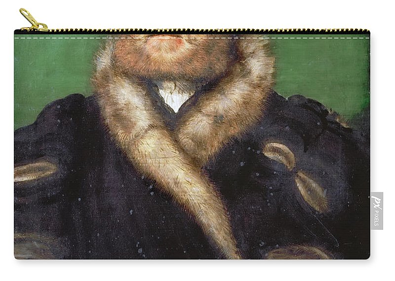 Corneille De Lyon Carry-all Pouch featuring the painting Portrait Of A Bearded Man With A Fur Coat by Corneille de Lyon