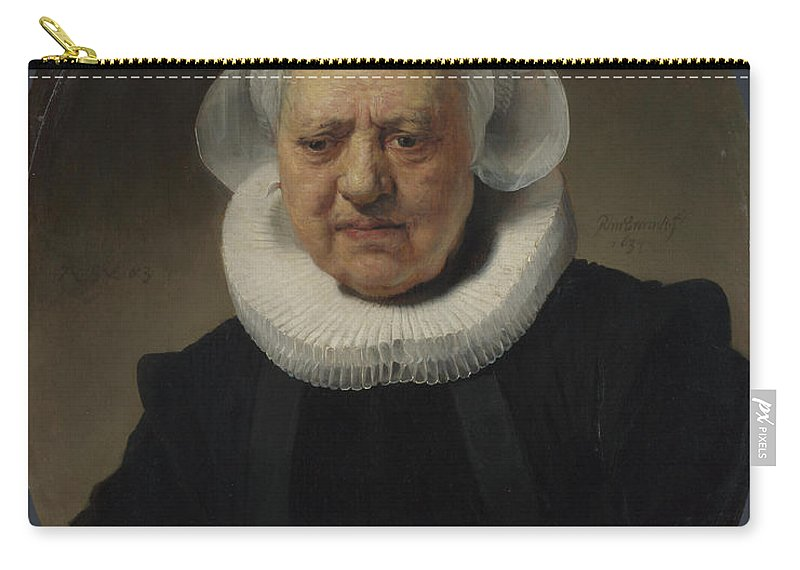 Rembrandt Carry-all Pouch featuring the painting Portrait Of Aechje Claesdr  by Rembrandt