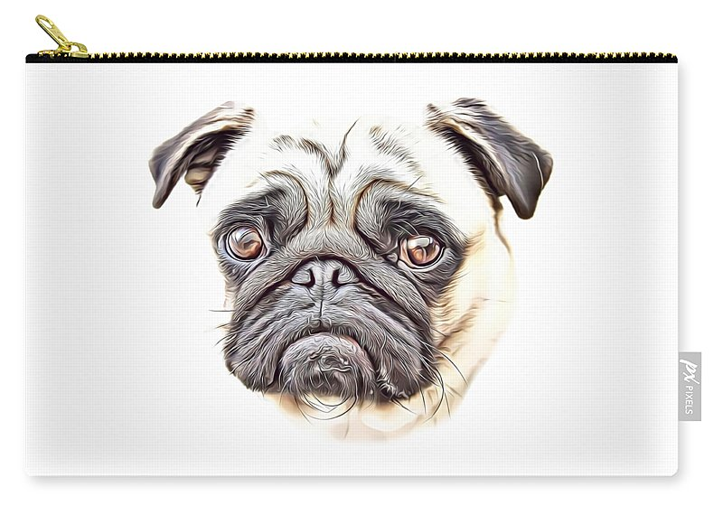 Pug Carry-all Pouch featuring the digital art Pug by Russ Carts