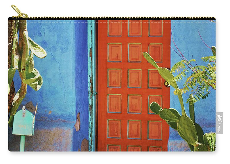 Architecture Carry-all Pouch featuring the photograph Red Door Adobe by Richard Jenkins