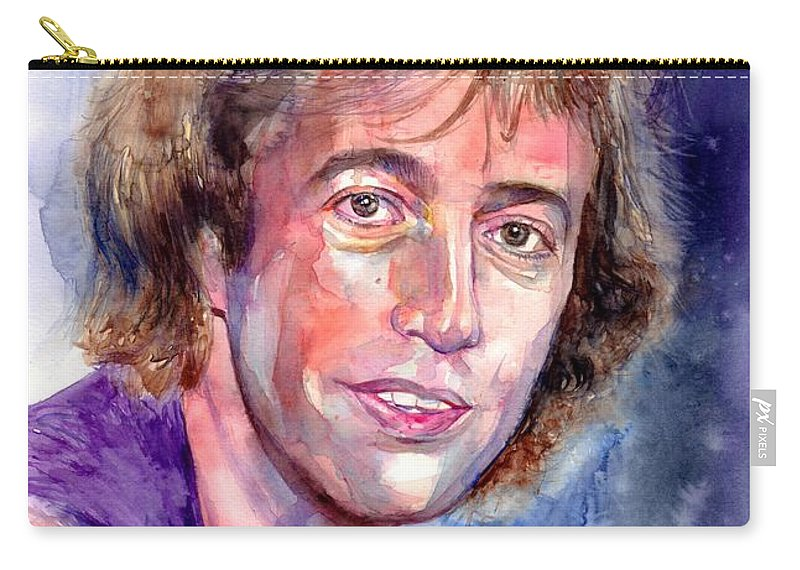 Robin Carry-all Pouch featuring the painting Robin Gibb Portrait by Suzann Sines