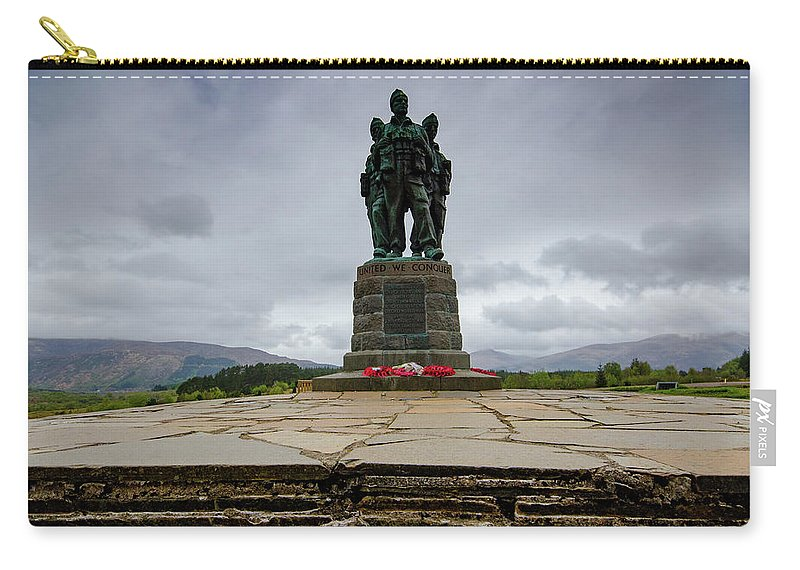 Commando Memorial Carry-all Pouch featuring the mixed media Scottish Commando Memorial 1 by Smart Aviation