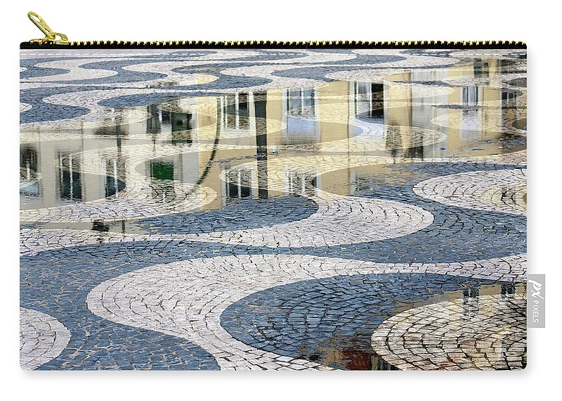 Curve Carry-all Pouch featuring the photograph Sidewalk In Lisbon, Portugal by Typo-graphics